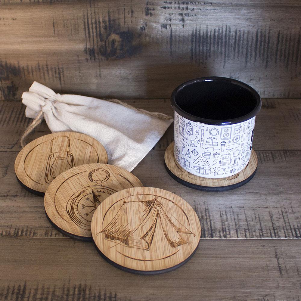 Camping Bamboo Coasters