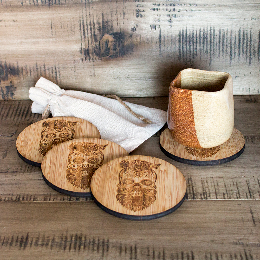 Responsible Craft Hipster Sugar Skulls Set of Bamboo Coasters